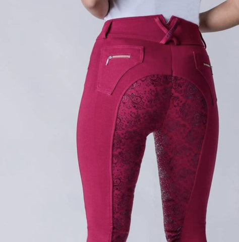Chillout Horsewear Ltd Full Silicone Seat Breeches Burgundy