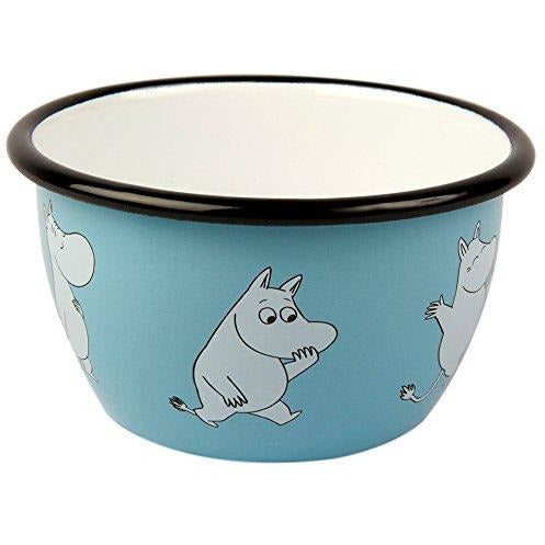 Moomin Enamel Bowl Retro Moomintroll Light Blue 0,6 L - .