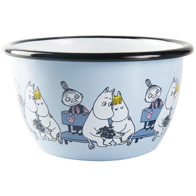 Moomin Enamel Bowl Friends Blue 0,6 L - .