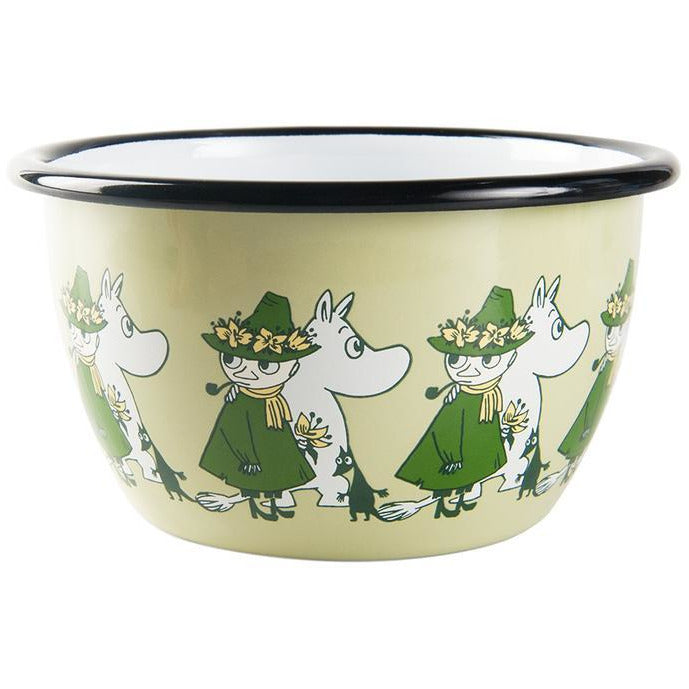 Moomin Enamel Bowl Friends Snukin and Moomin Green 0,6L - .