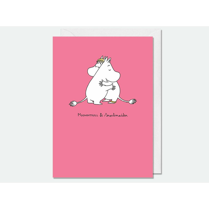 Greeting Card Moomintroll and Snorkmaiden pink - .