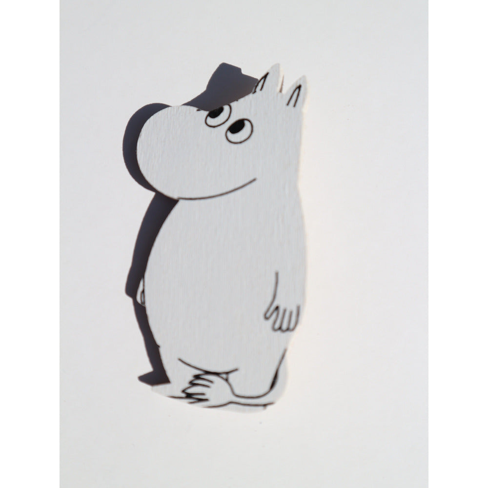 Wooden Brooch Moomintroll looking right - .