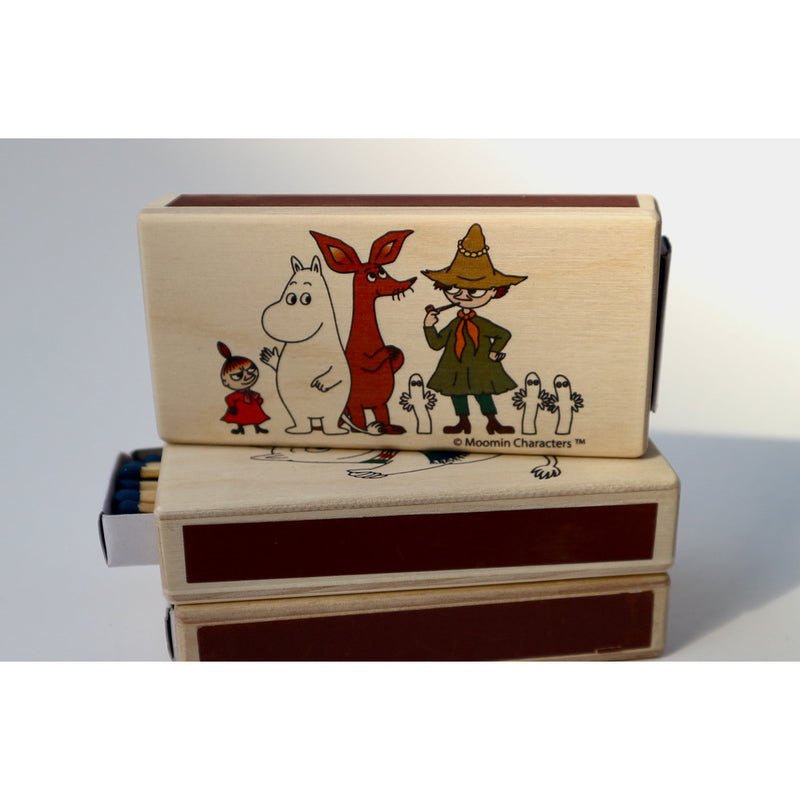 Wooden Match Box Moomintroll, Little My, Sniff, Snufkin And Hattifatteners - .