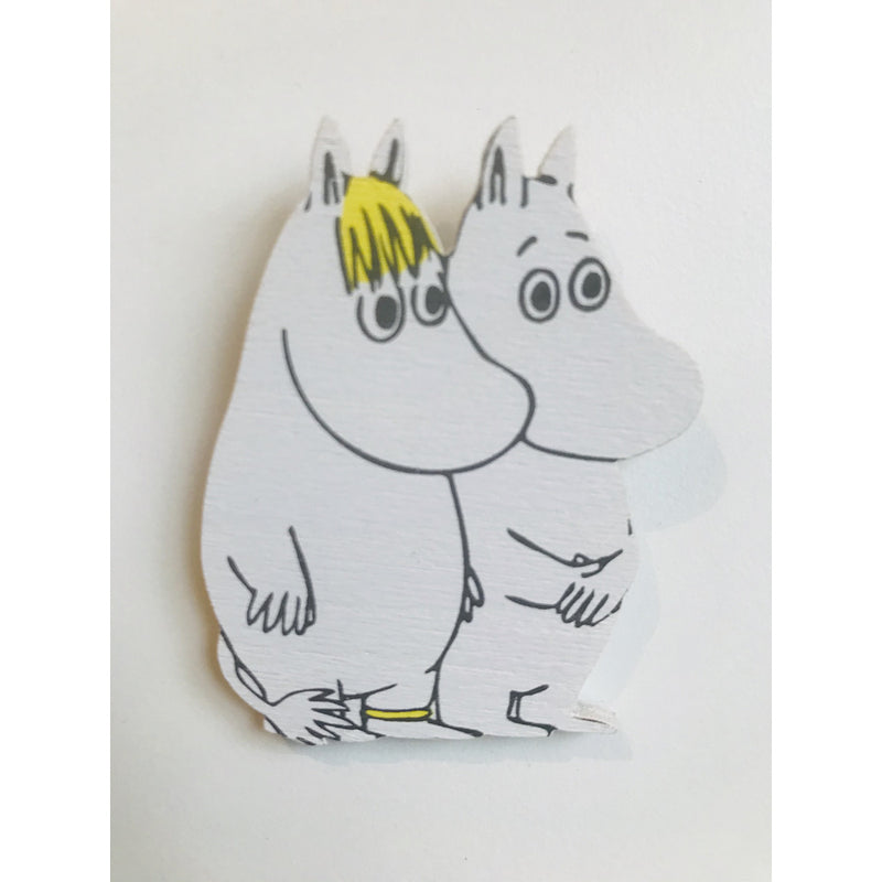 Wooden Brooch Moomintroll and Snorkmaiden - .