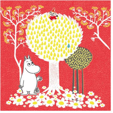 Greeting Card Square Little My in Tree Red