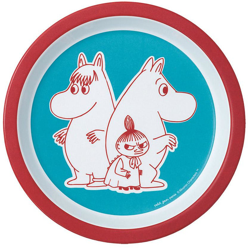 Children's Plate Melamine Moomintroll, Snorkmaiden And Little My Blue And Red - .