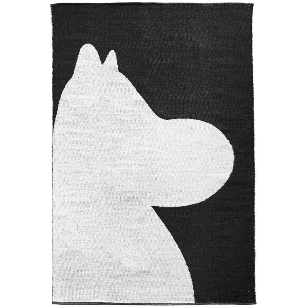 Moomin Rug 140 x 200 cm Black And White Moomintroll