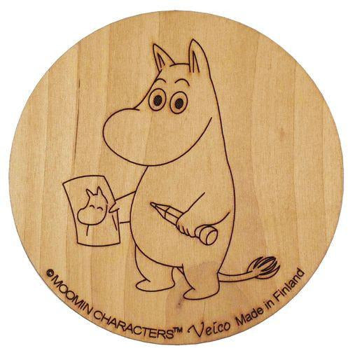 Wooden Coaster Moomintroll Drawing