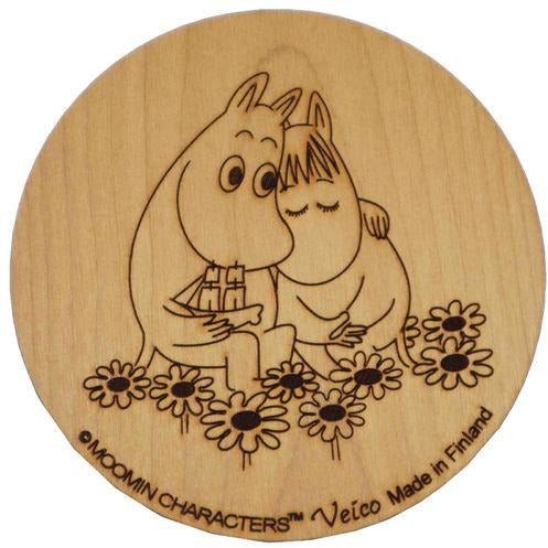 Wooden Coaster Moomintroll and Snorkmaiden Love