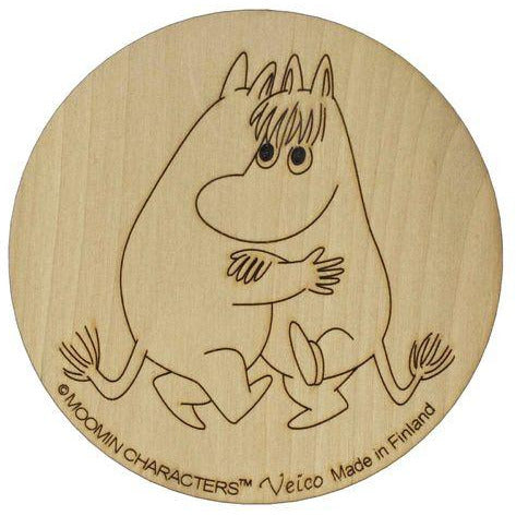 Wooden Coaster Moomintroll and Snorkmaiden Dancing