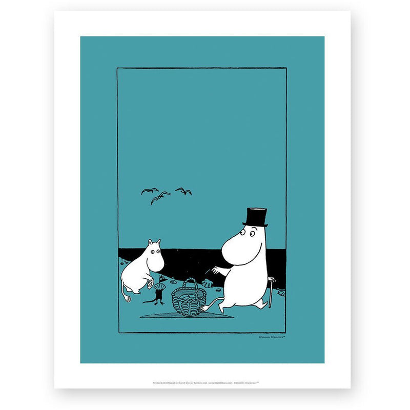 Art Print Moominpappa And Moomintroll On The Beach - .