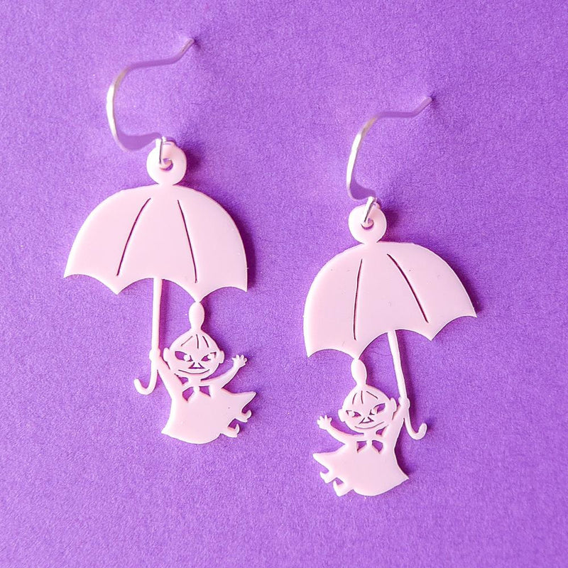 Little My And Umbrella Earrings Light Pink