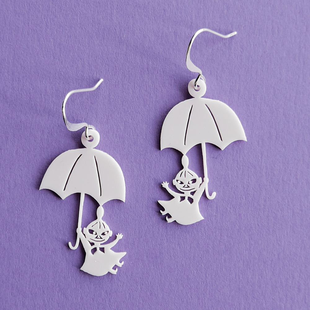 Little My And Umbrella Earrings White