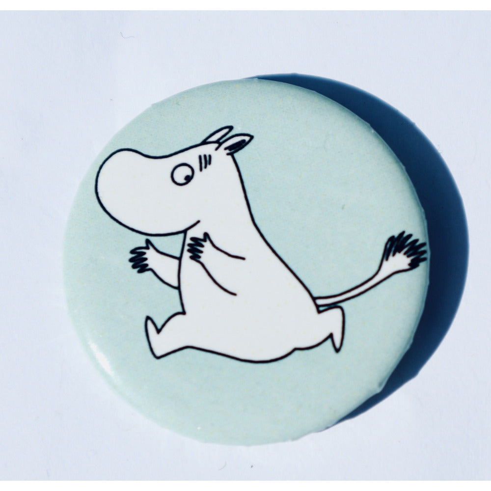 Button Badge Running Moomintroll Turquoise - .