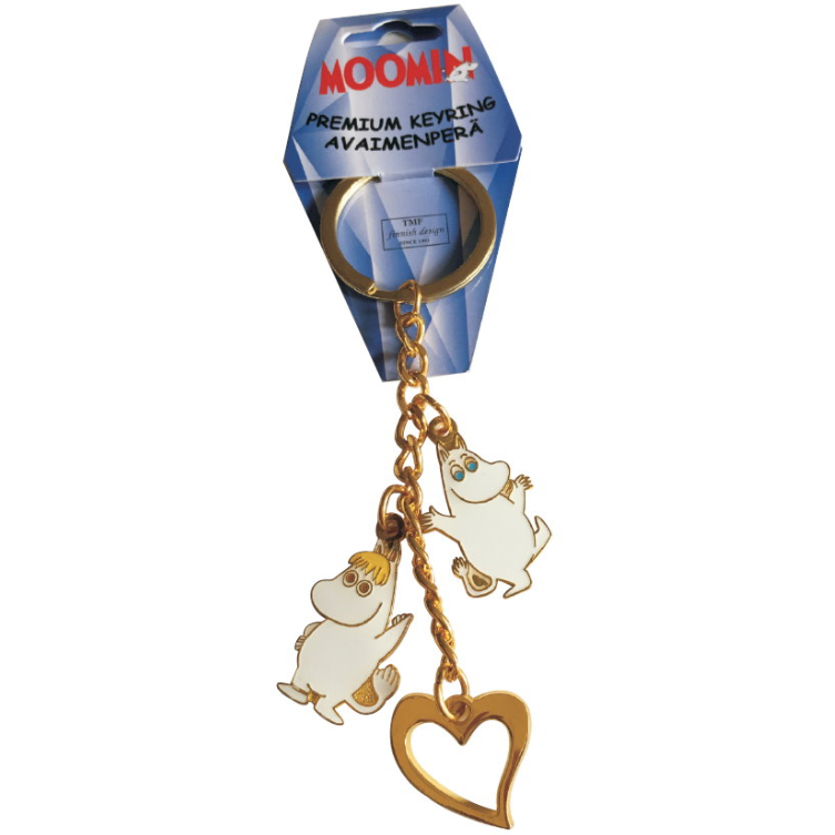 Moomin Metal Keyring Snorkmaiden, Moomintroll And A Heart - .