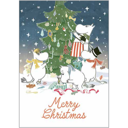 Moomin Christmas Card Moominfamily And Christmas Tree - .