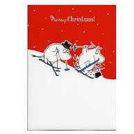 Moomin Christmas Card Moomintroll And Moominpappa Skiing - .