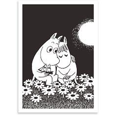 Card Moomintroll And Snorkmaiden black - .