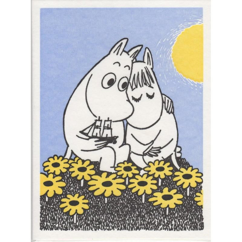 Greeting Card Moomintroll and Snorkmaiden flowers - .