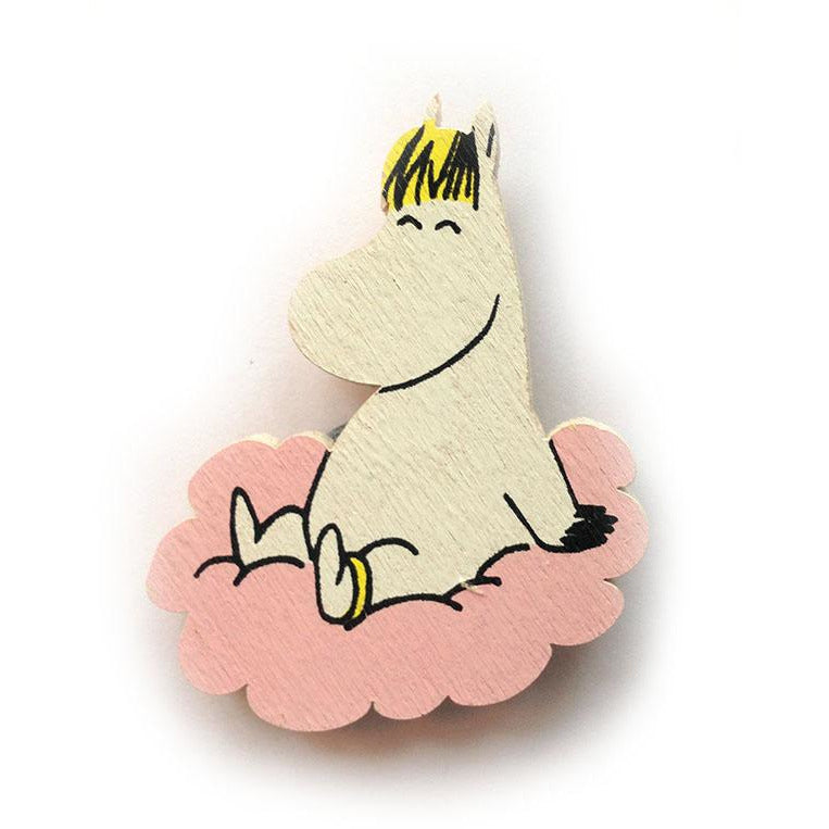 Wooden Brooch Snorkmaiden On A Pink Cloud - .