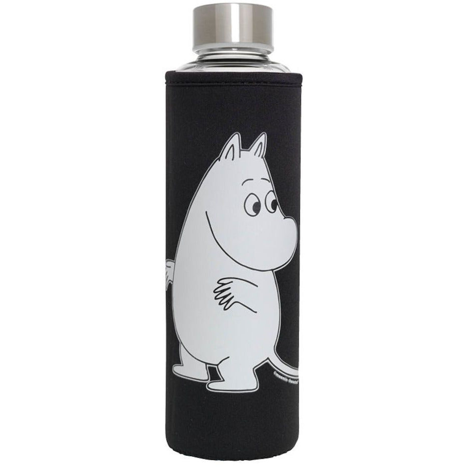 Glass Water Bottle Moomintroll Black - .