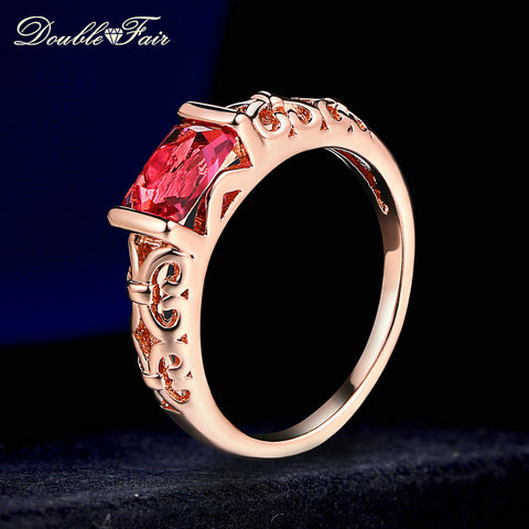 Crystal Wedding Rings Rose Gold Color Silver Tone Fashion Retro