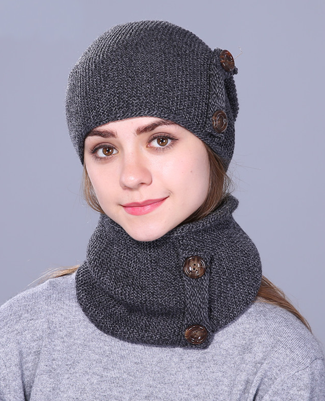 knitted Unisex Thick hat scarf set