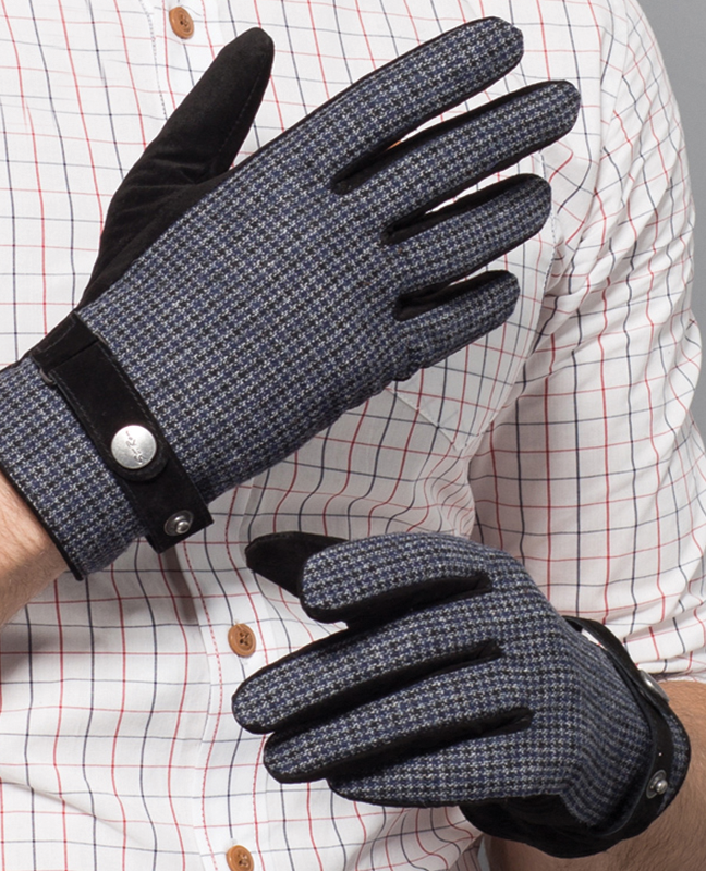 Genuine Leather Plaid Glove
