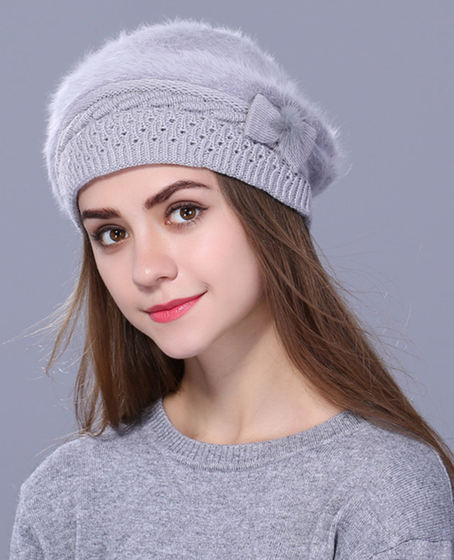Rabbit fur Knitted Beret