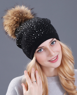 Rhinestones Rabbit fur knitted hat