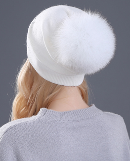 Rabbit fur Winter hat