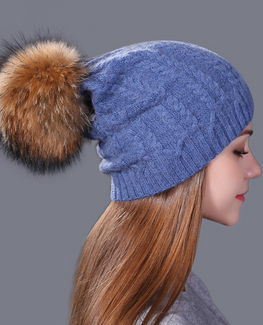 Real fox fur winter hat