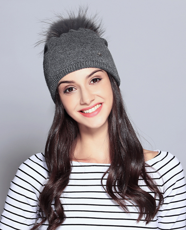 Elegant Raccoon Fur Double Layer Beanie