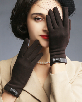 Vintage Bow leather gloves