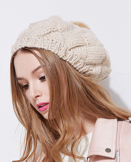 Rabbit Fur knitted beret Hat
