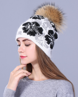 Raccoon fur knitted beanie