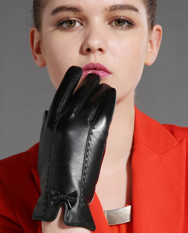 Genuine Leather Bowknot Glove