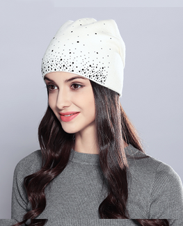 Rhinestones Double Layer Beanie