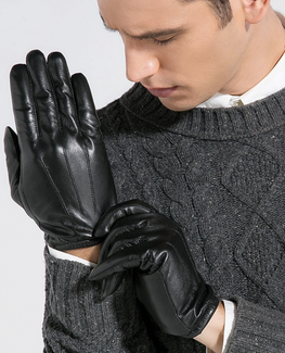 Goatskin Black Leather Glove