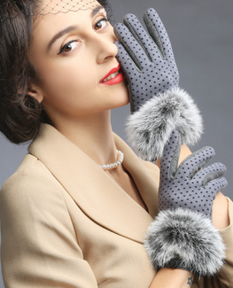 Vouge rabbit fur mittens