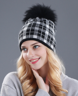 Rabbit fur plaid beanie