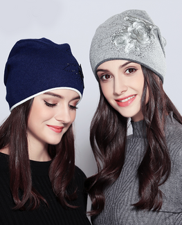 Vogue Flower Rhinestones Beanie