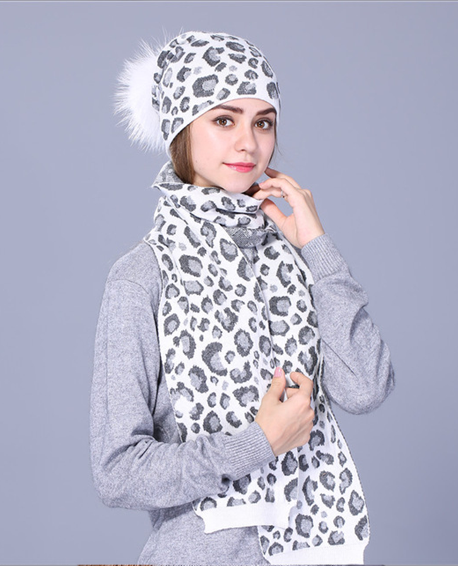 Leopard Print Knitted Winter Hat