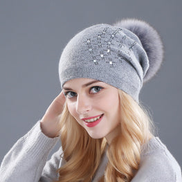 Rhinestone Mink Winter hat