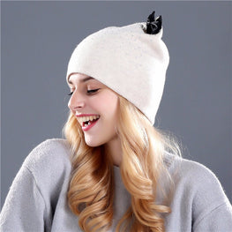 Rabbit fur wool knitted beanie