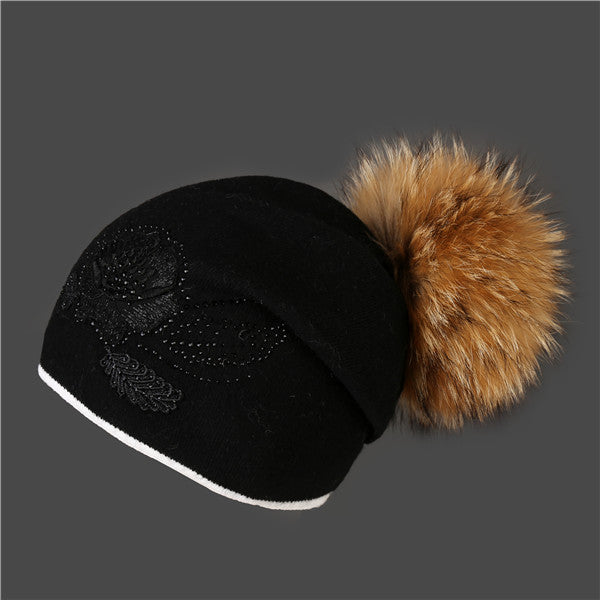 Real fox fur beanie