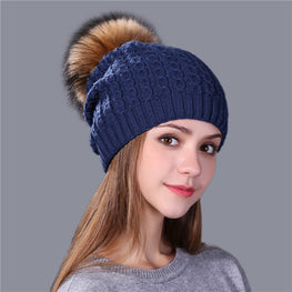 Real mink fur Knitted hat