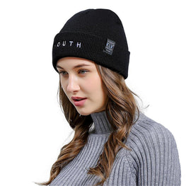 YOUTH Letters Embroidered Beanie Hat Casual Winter Vogue Knitted Beanies