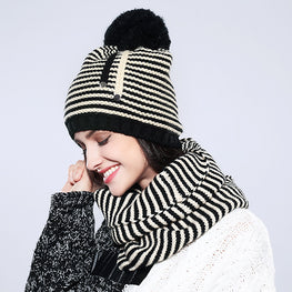 Women Hat And Scarf Set Striped Cotton Fashion 2018