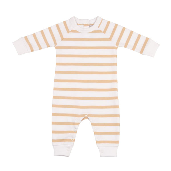 Biscuit and White Breton Striped All-In-One